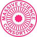 A decorative emblem featuring the Massive logo surrounded by text reading 'Massive Science Consortium'.